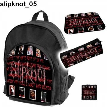 SLIPKNOT Set school backpack pencil case + free mouse pad and patch
