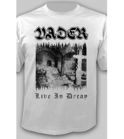 """VADER -""""Live In Decay"""" WHITE OFFICIAL T-SHIRT"""