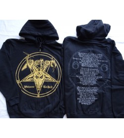 VENOM Welcome to Hell GOLD Witching Hour Lyrics OFFICIAL ORIGINAL HOODIE ZIPPER