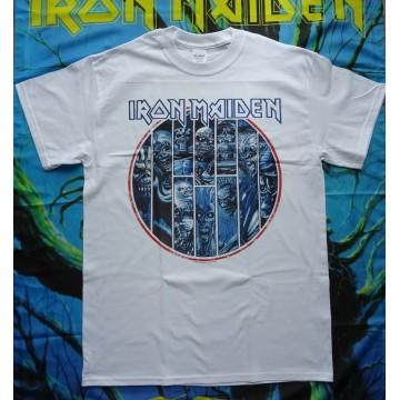 IRON MAIDEN Official Ten Circles Eddie White T-shirt Free Shipping!