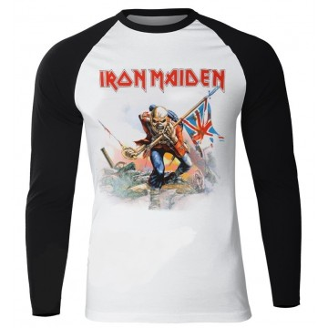 IRON MAIDEN Official The Trooper White Black Longsleeve Free Shipping!