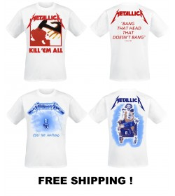 METALLICA Kill Em All + Ride the Lightning White Official T-Shirts Set Of Two T-shirt with Free Shipping