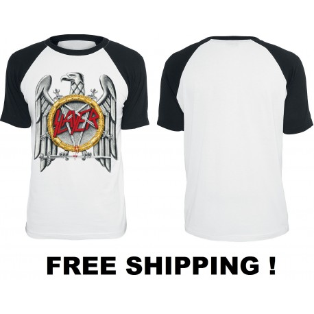 Slayer Eagle Official Baseball White Black T-Shirt