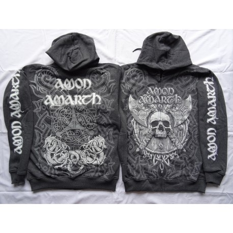 Amon Amarth Thor Hammer Vikings Zipper Hoodie All Print Official