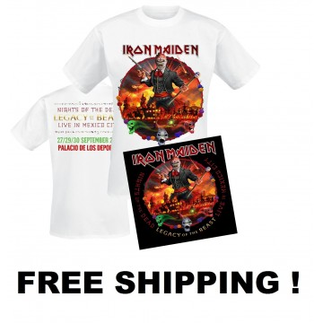 IRON MAIDEN Nights Of The Dead Legacy Of The Beast Live In Mexico 2CD + T-SHIRT Free Shipping