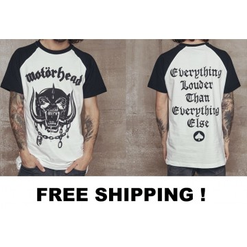 Motörhead Everything Louder Than Everything Else Official Baseball White Black T-Shirt Free Shipping