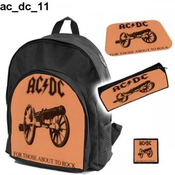 AC/DC Set school backpack pencil case + free mouse pad and patch